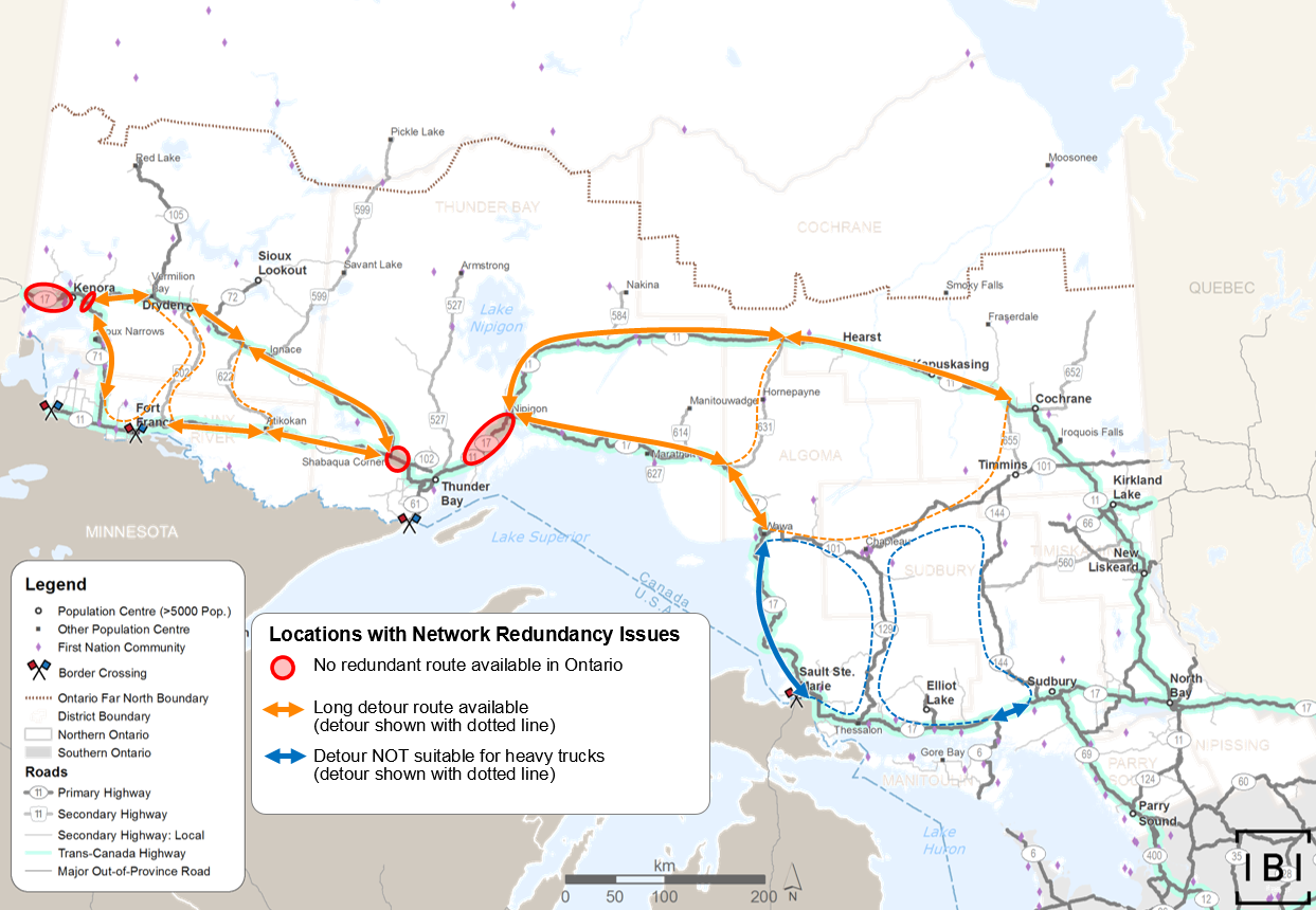 This map shows locations in the Trans-Canada Highway routes with redundancy issues. The key locations are west of Nipigon, west of Thunder Bay, and both east and west of Kenora.