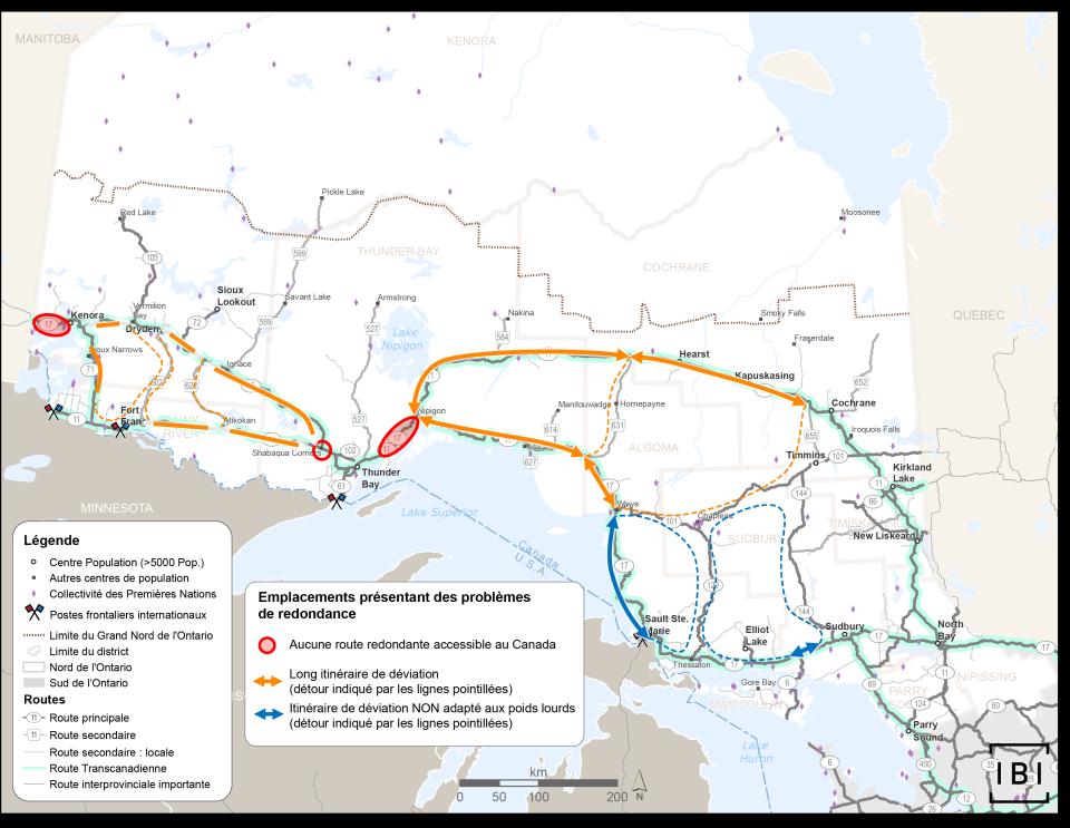 Cette carte indique les endroits, le long de l'autoroute Transcanadienne, qui présentent des problèmes de redondance. Ils se situent principalement à l'ouest de Nipigon, à l'ouest de Thunder Bay, et à l'est et à l'ouest de Kenora.
