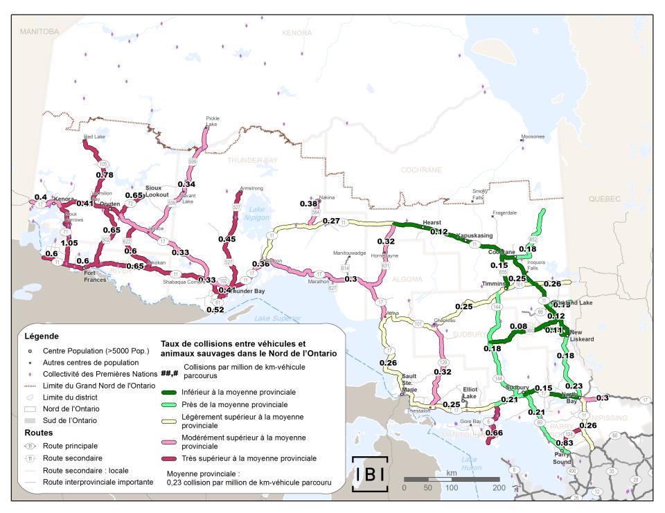 Cette carte indique les taux de collision entre des véhicules et des animaux dans le Nord de l'Ontario, par kilomètres parcourus par véhicule, et par rapport à la moyenne provinciale. Pour presque tout le territoire du Nord de l'Ontario, le taux est nettement plus élevé que la moyenne provinciale, tout comme pour l'autoroute 6 vers Manitoulin. Pour le Nord-Est de l'Ontario, le taux est généralement inférieur à la moyenne provinciale.