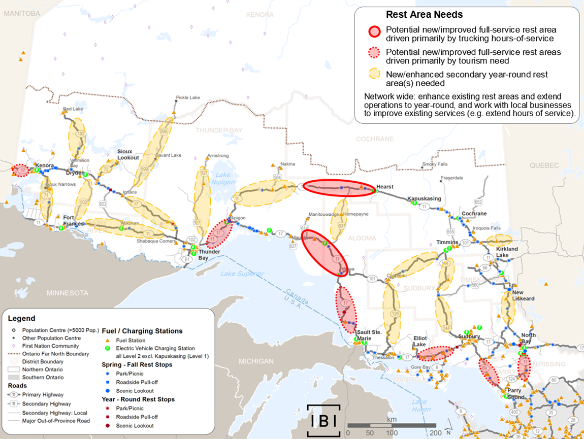 This map shows highway segments with gaps in rest areas, broken down into three categories: potential new/improved full-service rest area driver primarily by trucking hours-of-service, potential new/improved full-service rest areas driven primarily by tourism need, and new/enhanced secondary year-round rest area(s) needed.