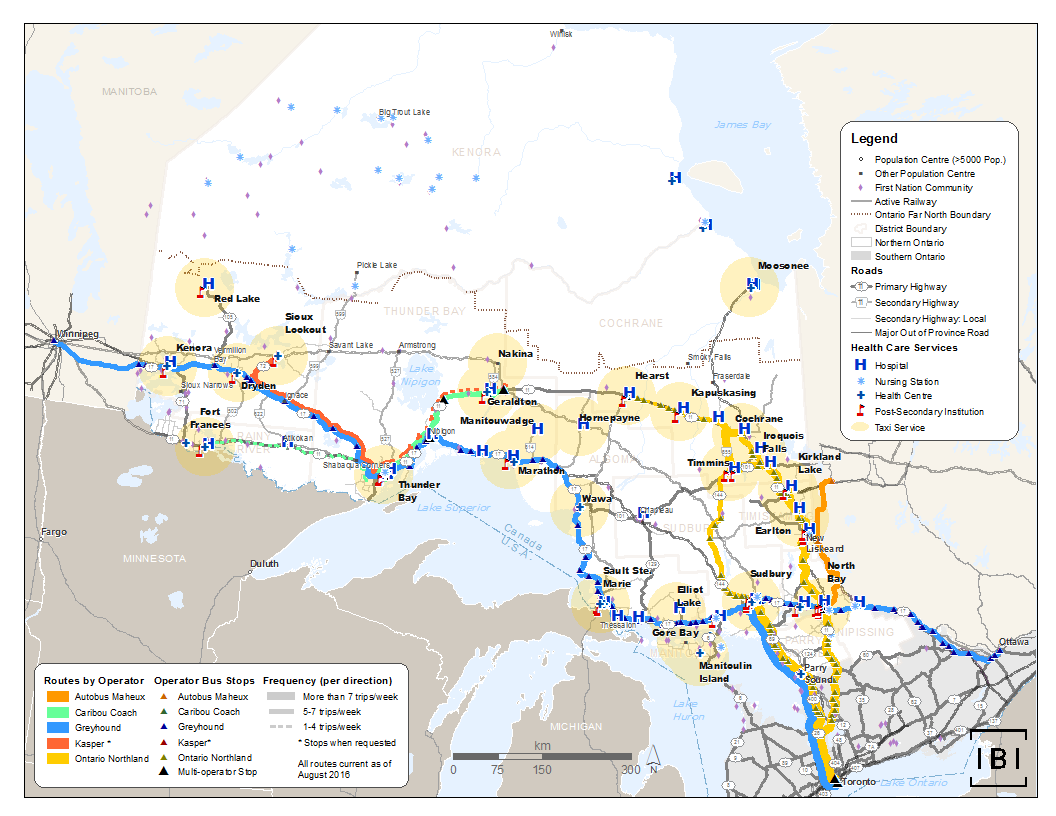 This map shows hospitals, nursing stations, health centres, and post-secondary institutions within Northern Ontario, and intercity bus lines and taxi ranges that can be used to access these services.