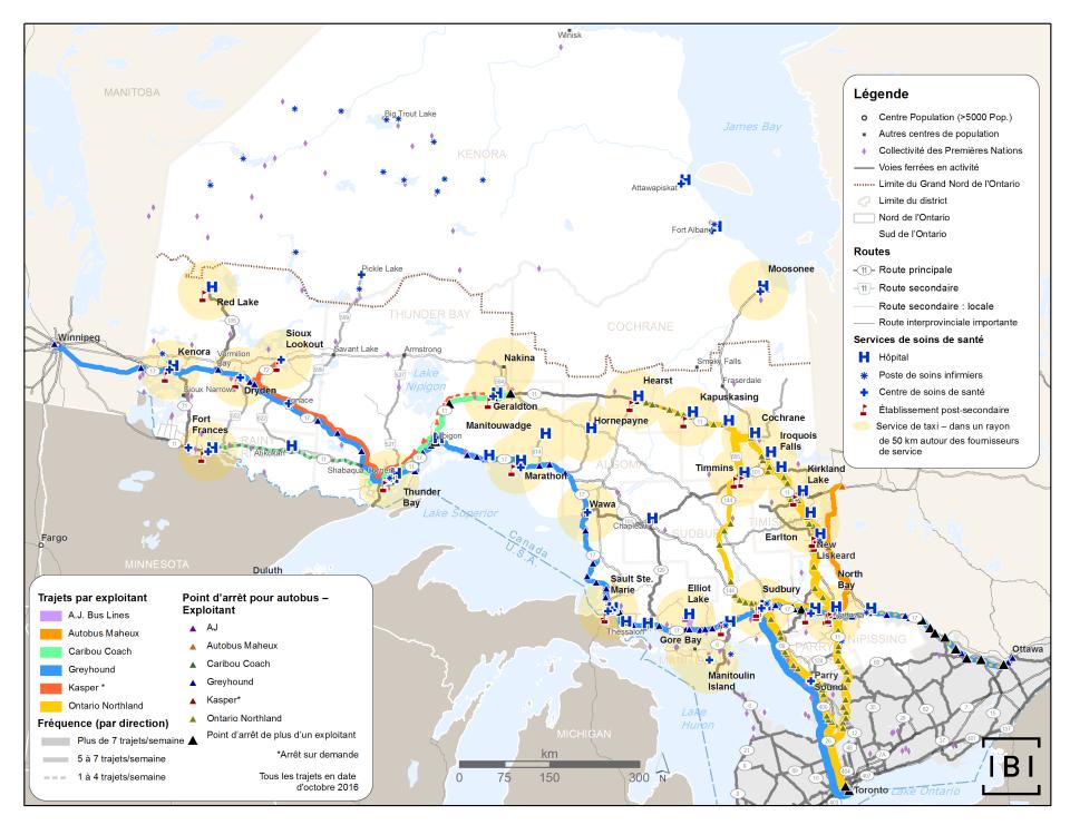 Cette carte indique les hôpitaux, les postes de soins infirmiers, les centres de santé et les établissements postsecondaires du Nord de l'Ontario, ainsi que les lignes d'autobus interurbains et les zones d'activité des taxis que l'on peut prendre pour accéder à ces services.