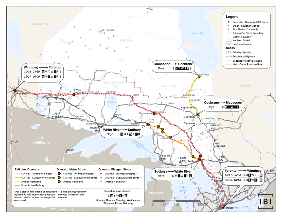 This map shows passenger rail services in Northern Ontario by line and operator. The operators and lines are VIA Rail (Toronto/Winnipeg), VIA Rail (Sudbury/White River), and Ontario Northland (Moosonee/Cochrane). The map also shows the days of operation of each service, in addition to major stops and flag stops. Roads are also included and are classified as primary, secondary, secondary local, or major out of province.