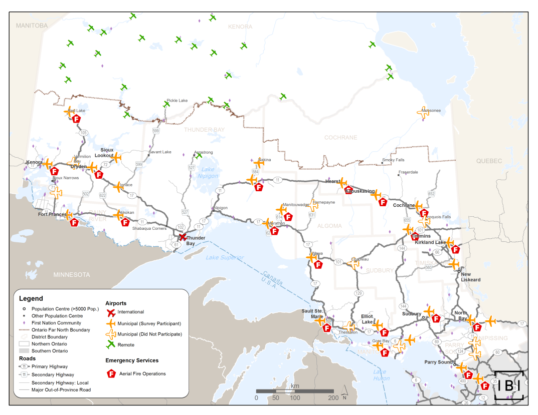 This map shows the 21 airports that report conducting aerial firefighting operations in Northern Ontario.