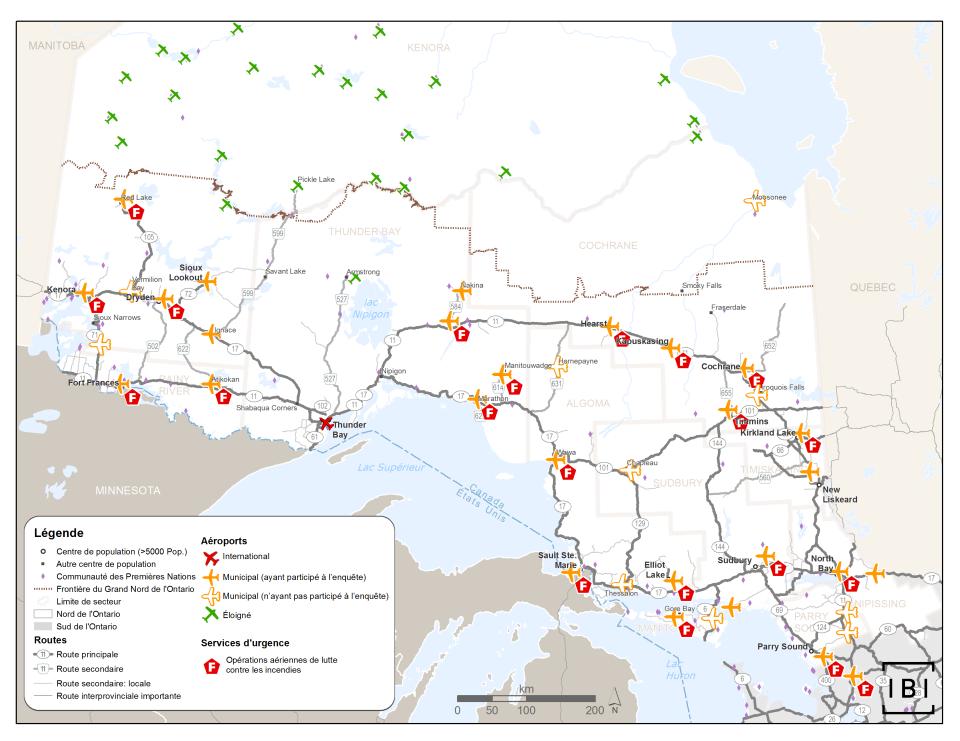 Cette carte montre les 21 aéroports qui déclarent participer aux opérations aériennes de lutte contre les incendies dans le Nord de l'Ontario.