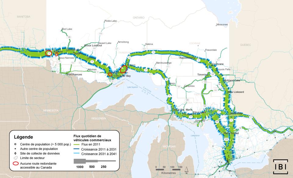 Cette carte montre les volumes quotidiens de véhicules commerciaux voyageant dans la région du Nord de l'Ontario et à travers celle-ci, en 2011. L'augmentation projetée du nombre de véhicules pour 2011 à 2031 et 2031 à 2041 y figure également. Les endroits de réseau autoroutier où il n'existe pas de routes secondaires pour les trajets au Canada sont encerclés.