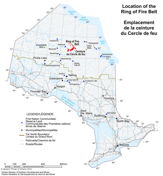This map shows the location of the Ring of Fire Belt within Northern Ontario, as well as the location of First Nation communities, and major municipalities. Major roads and railways are included, as is the Far North boundary.