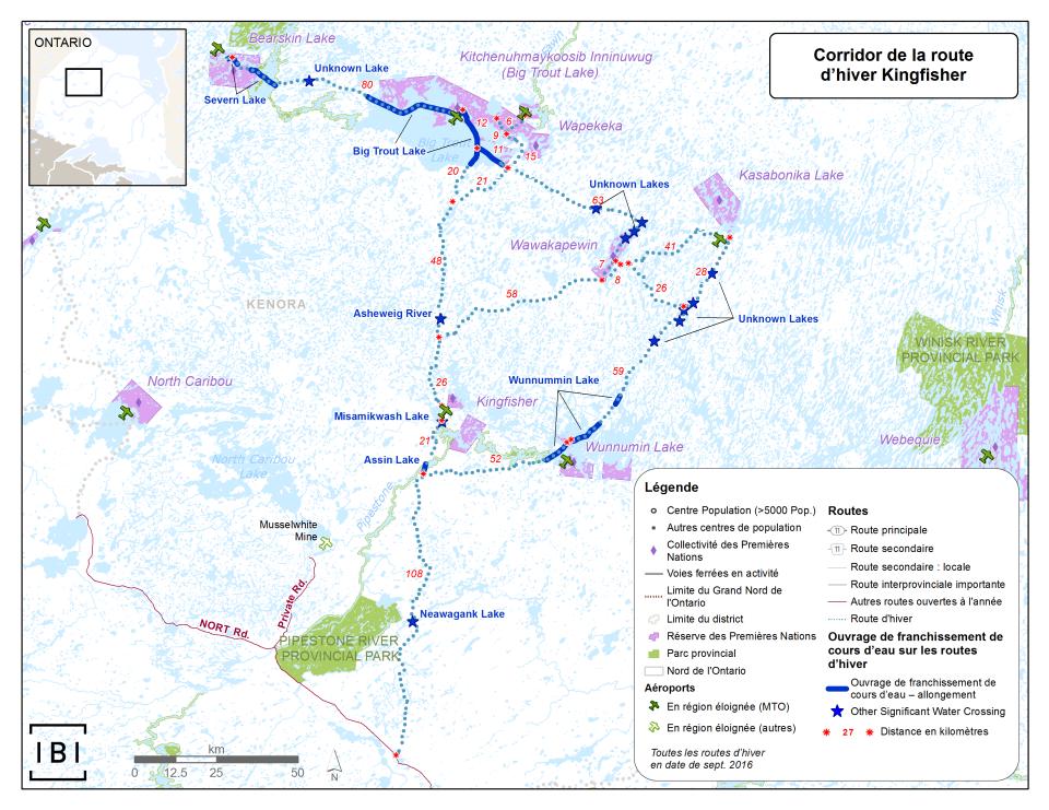 Exemple de mappage de corridors routiers hivernaux dans le Grand Nord