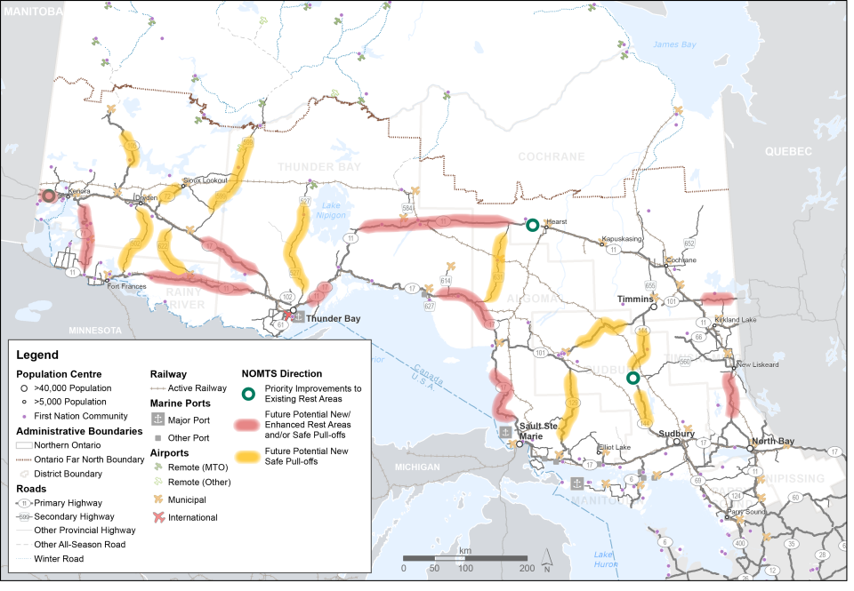 This map shows three locations identified for priority improvements to existing rest areas. It also shows segments of the highway network identified for potential new or enhanced rest areas and or safe pull-offs; and segments identified for potential new safe pull-offs.