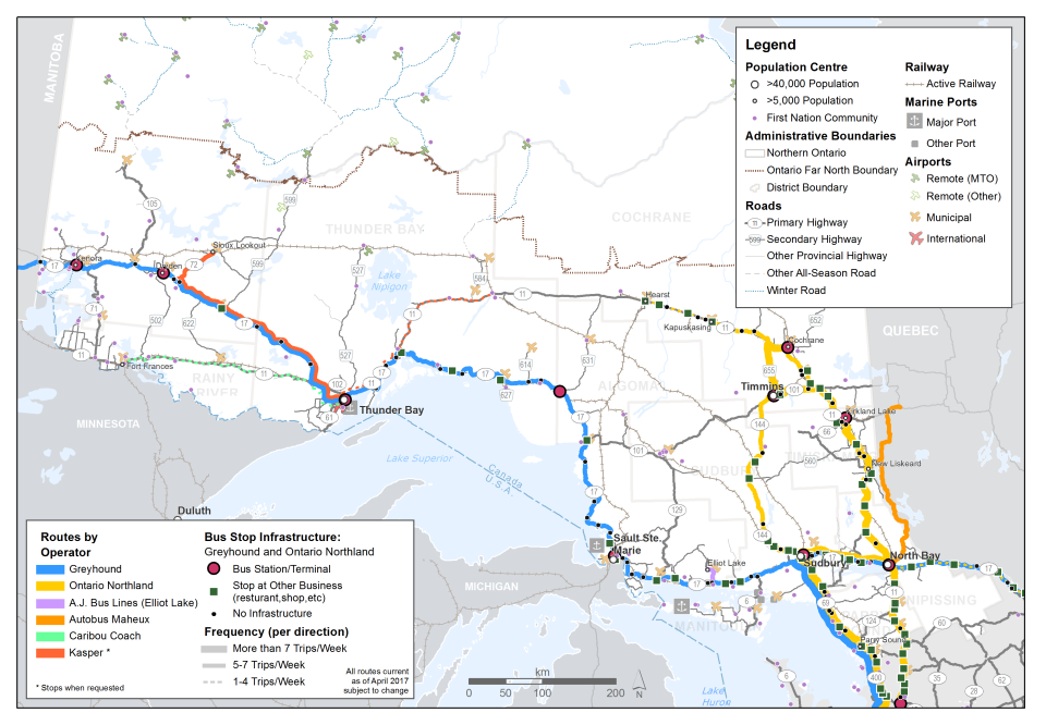 This map shows existing inter-community bus routes and the frequency range of each bus route in northern Ontario. The bus routes included are: Greyhound; Ontario Northland; AJ Bus Lines; Autobus Maheux; Caribou Coach; and Kasper. The per direction frequency ranges are: 1 to 4 trips per week; 5 to 7 trips per week; and more than 7 trips per week. Bus stop locations are shown and are distinguished between different types of bus stop infrastructure, which include: bus station or terminal; stop at other business; or no infrastructure.