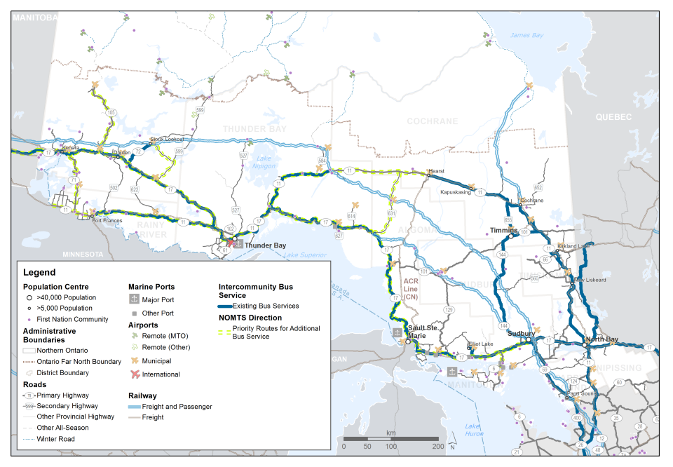 This map shows the routes of inter-community bus services in northern Ontario. Portions of the rail network that carry passenger trains in addition to freight are highlighted. The Alogoma Central rail line is labelled. The map also highlights priority routes for additional bus service.