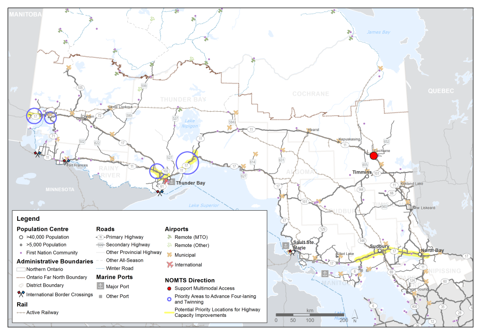 This map shows the four priority areas for advancing four-laning and twinning; these are along the Trans-Canada highway near Thunder Bay and near Kenora. Potential priority locations for future highway capacity improvements are shown near Sudbury, North Bay, Thunder Bay and Kenora. A location at Cochrane is highlighted for support for multi-modal access.