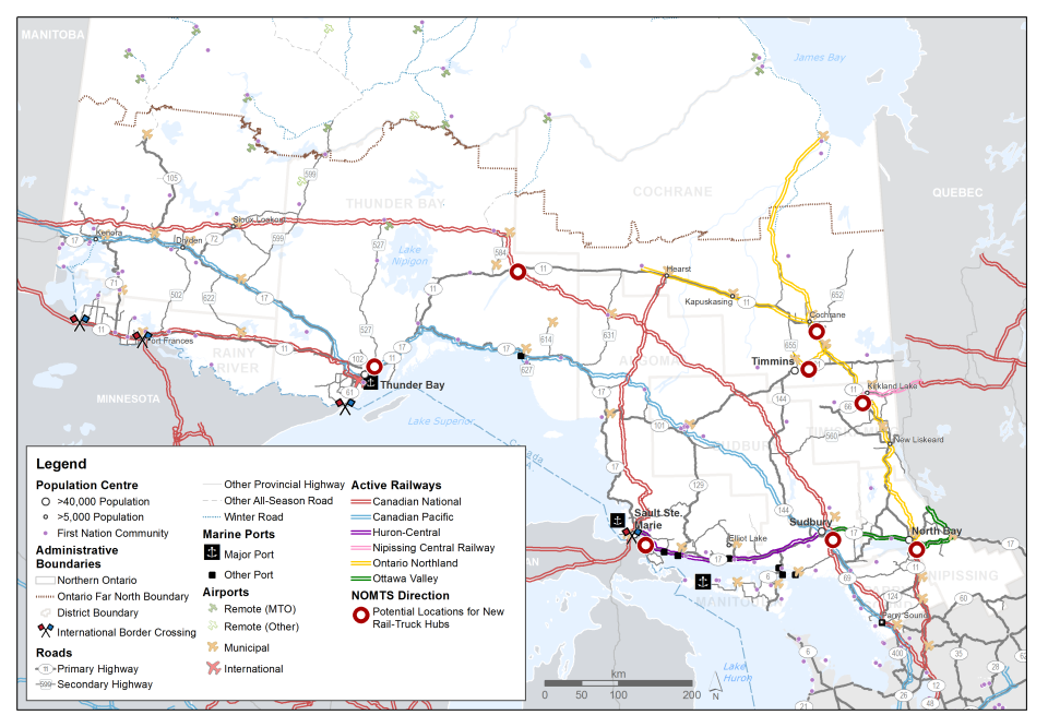 This map shows active railways in and around northern Ontario, distinguishing railways by operator. Potential locations for new rail-truck hubs are shown at North Bay, Sudbury, Sault Ste. Marie, Timmins, Cochrane, Kirkland Lake, Thunder Bay and Geraldton.