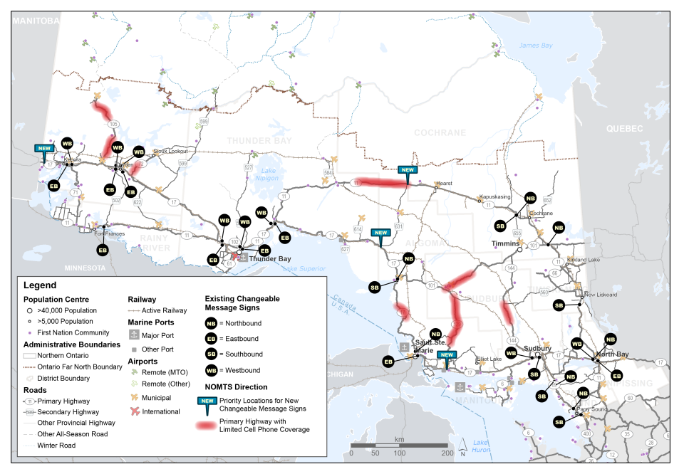 This map shows the locations of existing changeable message signs throughout northern Ontario's highway network. It also shows four areas identified as priority locations for new changeable message signs, as well as stretches of the primary highway network with limited cell phone coverage.